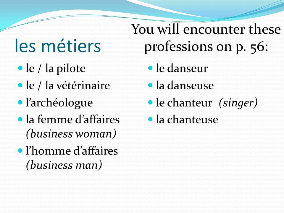 les métiers le / la pilote le / la vétérinaire l'archéologue la femme d'affaires (business woman) l'homme d'affaires (business man) le danseur la dans