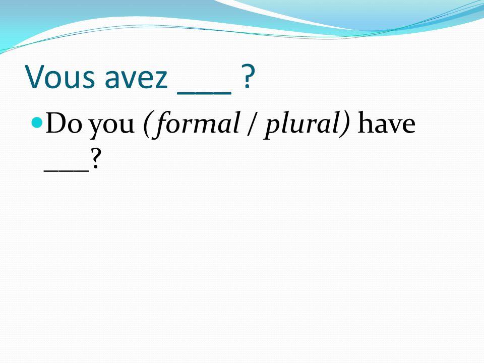 Vous avez ___ ? Do you (formal / plural) have ___?