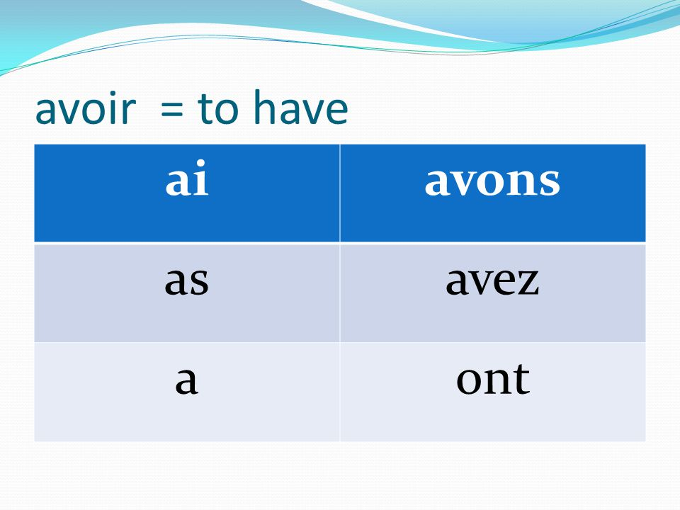 avoir = to have aiavons asavez aont