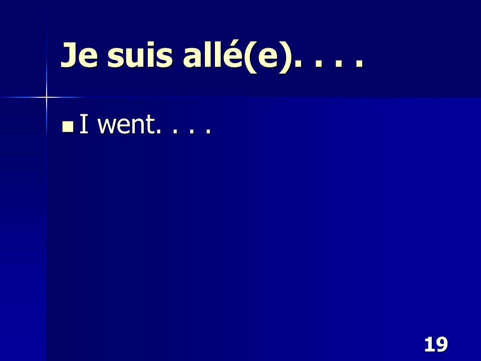 19 Je suis allé(e).... I went.... I went....