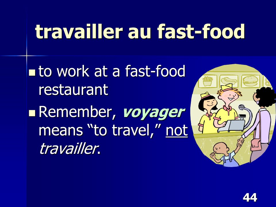 """44 travailler au fast-food to work at a fast-food restaurant to work at a fast-food restaurant Remember, voyager means """"to travel,"""" not travailler. Re"""