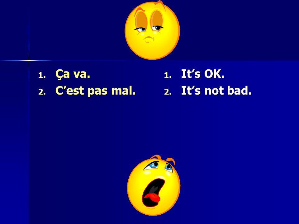 1. Ça va. 2. C'est pas mal. 1. It's OK. 2. It's not bad.