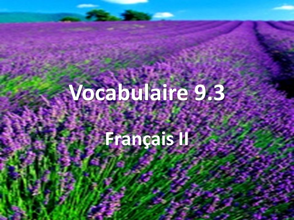 Vocabulaire 9.3 Français II