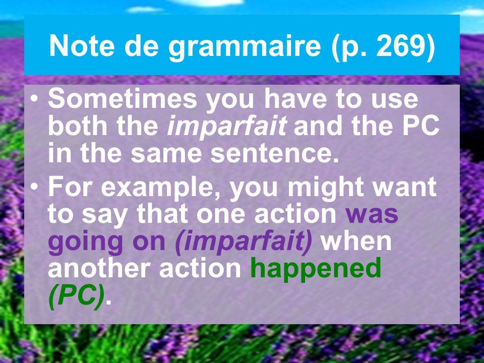 Note de grammaire (p.