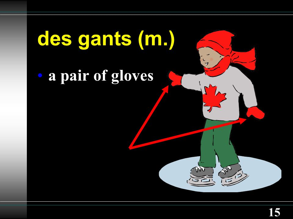 15 des gants (m.) a pair of gloves