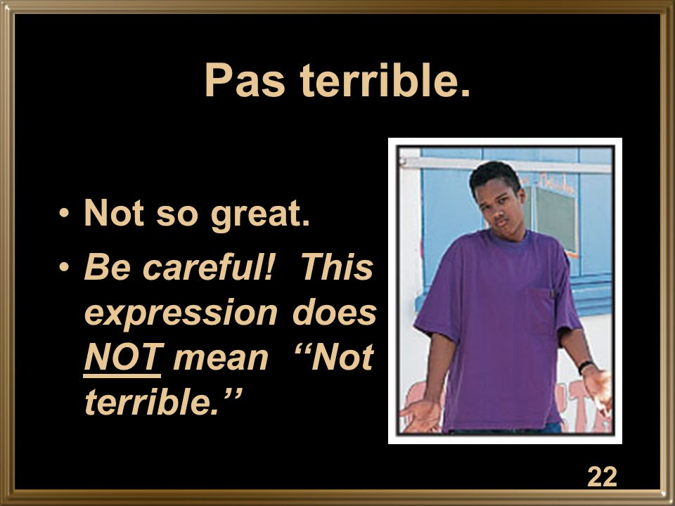 Pas terrible. Not so great. Be careful! This expression does NOT mean ''Not terrible.'' 22
