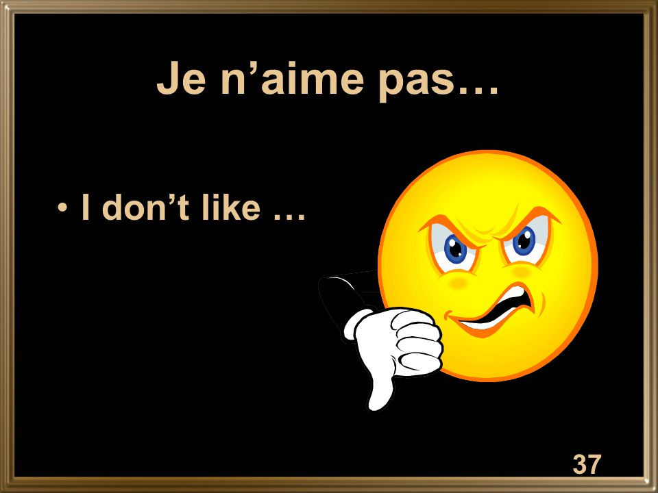 Je n'aime pas… I don't like … 37