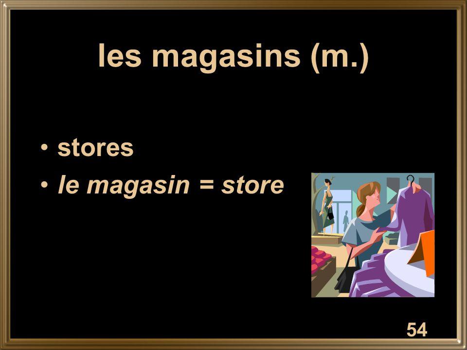 les magasins (m.) stores le magasin = store 54