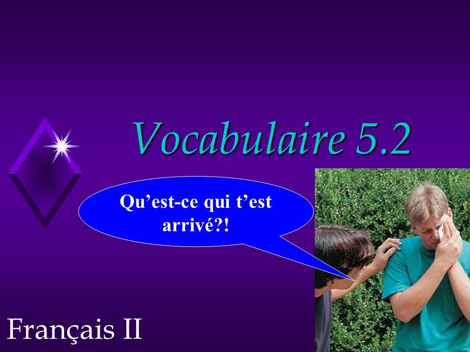 Vocabulaire 5.2 Français II Qu'est-ce qui t'est arrivé?!