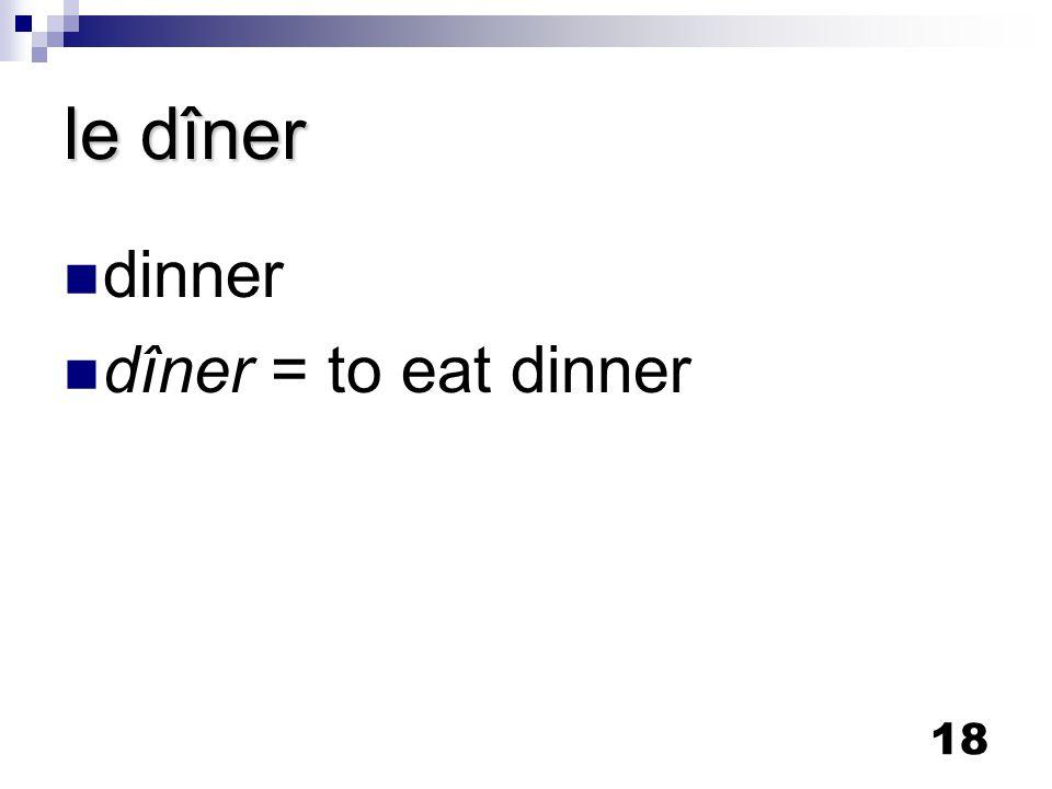 18 le dîner dinner dîner = to eat dinner