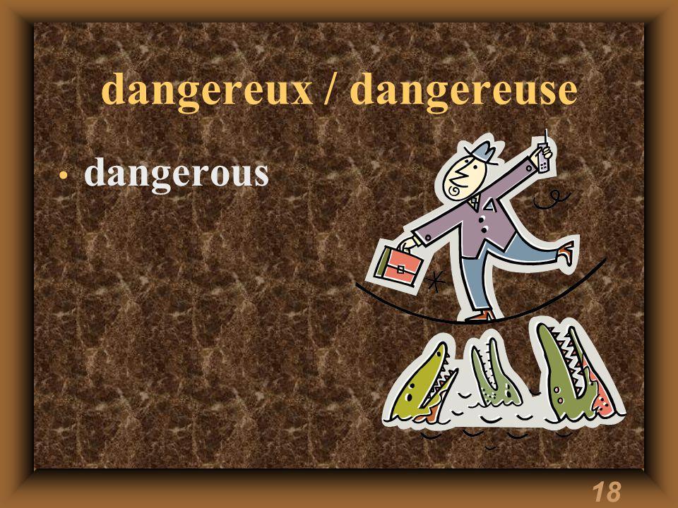 18 dangereux / dangereuse dangerous