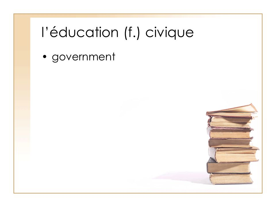 l'éducation (f.) civique government