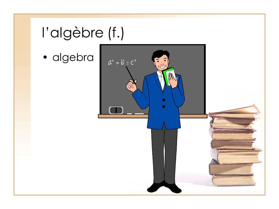 l'algèbre (f.) algebra