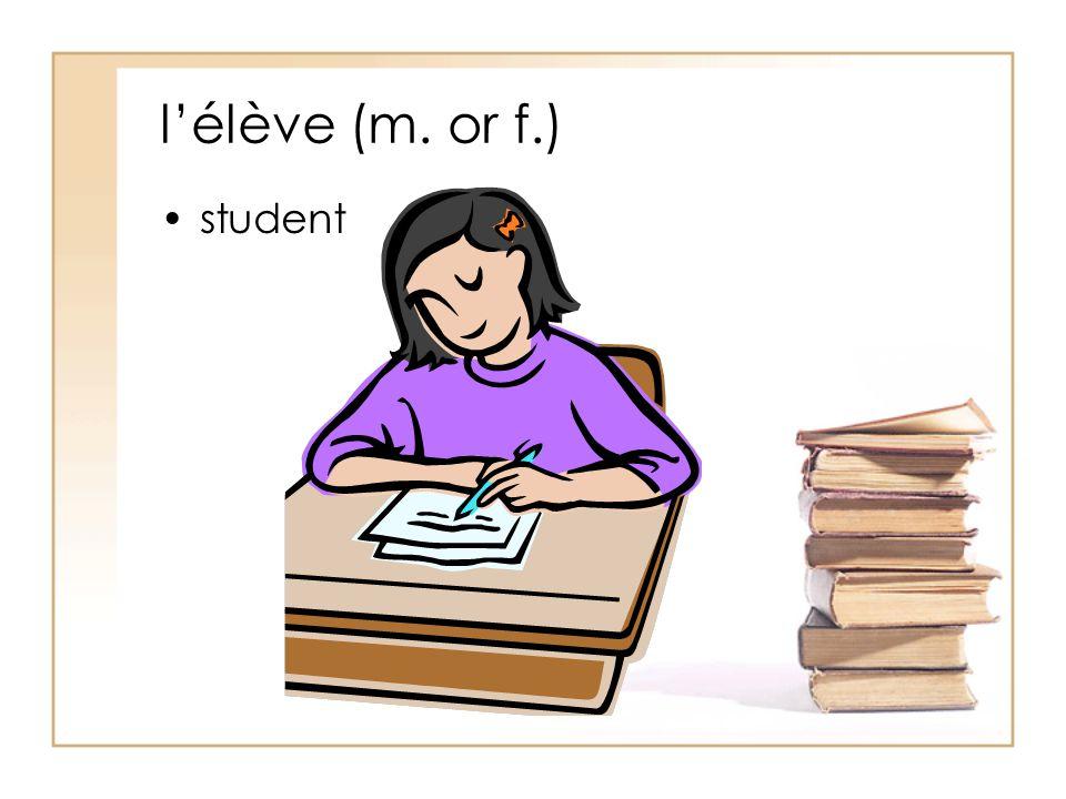 l'élève (m. or f.) student