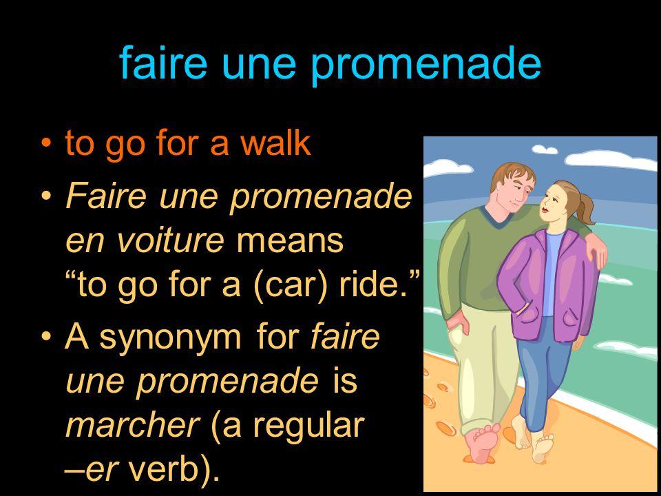 faire une promenade to go for a walk Faire une promenade en voiture means to go for a (car) ride. A synonym for faire une promenade is marcher (a regular –er verb).