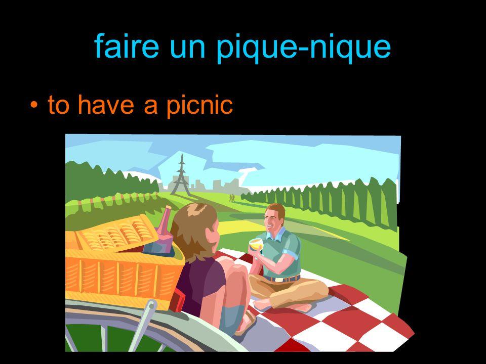 faire un pique-nique to have a picnic