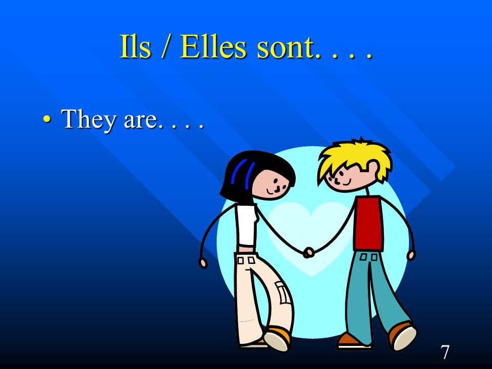 7 Ils / Elles sont.... They are....They are....