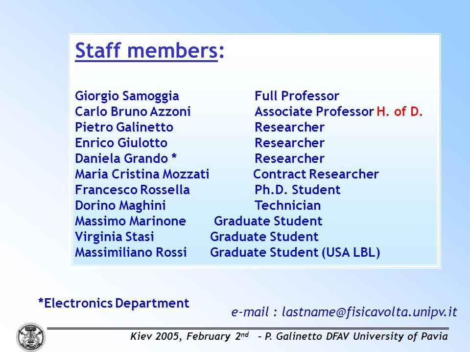 Staff members: Giorgio Samoggia Full Professor Carlo Bruno AzzoniAssociate Professor H.