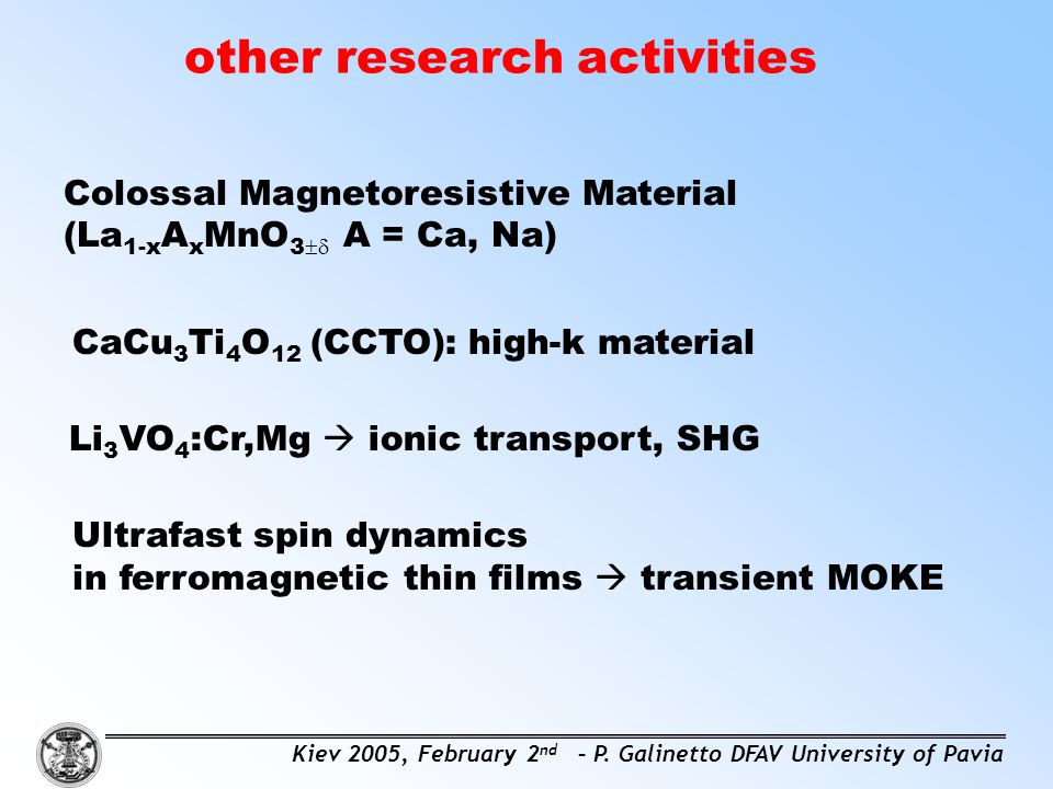 other research activities Colossal Magnetoresistive Material (La 1-x A x MnO 3  A = Ca, Na) CaCu 3 Ti 4 O 12 (CCTO): high-k material Li 3 VO 4 :Cr,M
