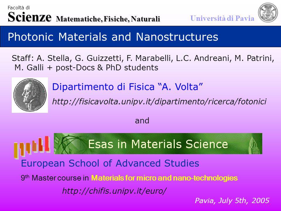 Scienze Matematiche, Fisiche, Naturali Università di Pavia Facoltà di Photonic Materials and Nanostructures Dipartimento di Fisica A.