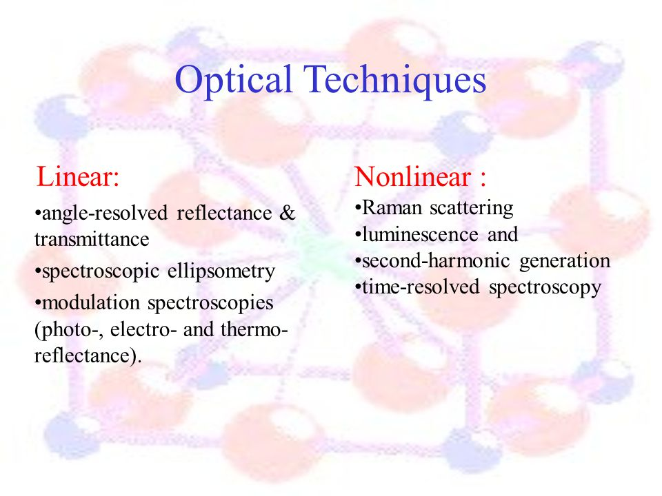 Optical Techniques Linear: angle-resolved reflectance & transmittance spectroscopic ellipsometry modulation spectroscopies (photo-, electro- and therm