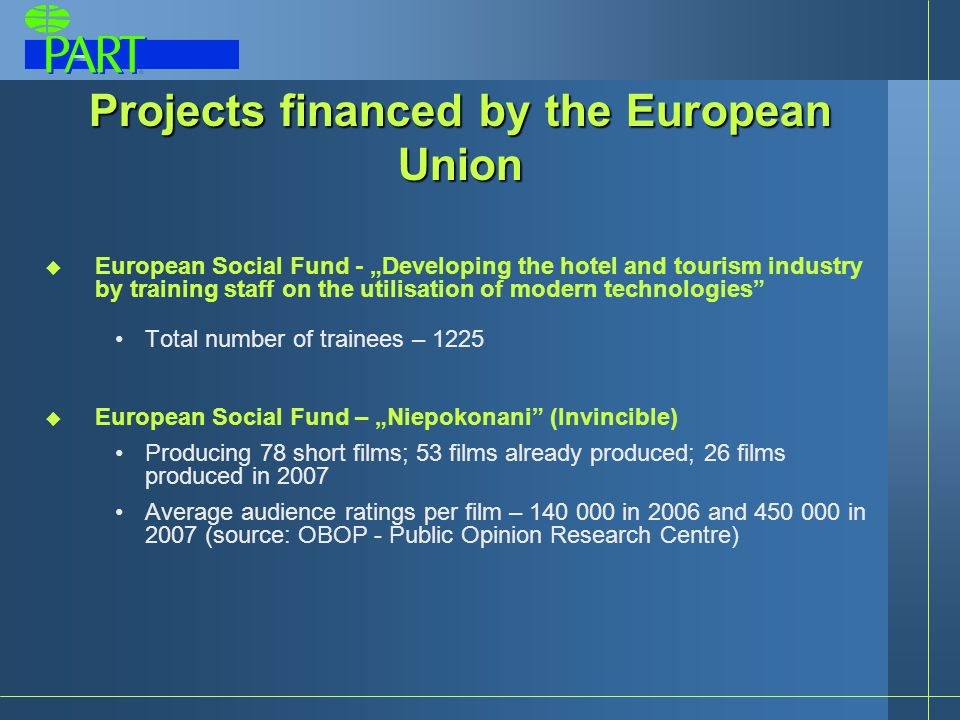 "Projects financed by the European Union  European Social Fund - ""Developing the hotel and tourism industry by training staff on the utilisation of modern technologies Total number of trainees – 1225  European Social Fund – ""Niepokonani (Invincible) Producing 78 short films; 53 films already produced; 26 films produced in 2007 Average audience ratings per film – 140 000 in 2006 and 450 000 in 2007 (source: OBOP - Public Opinion Research Centre)"