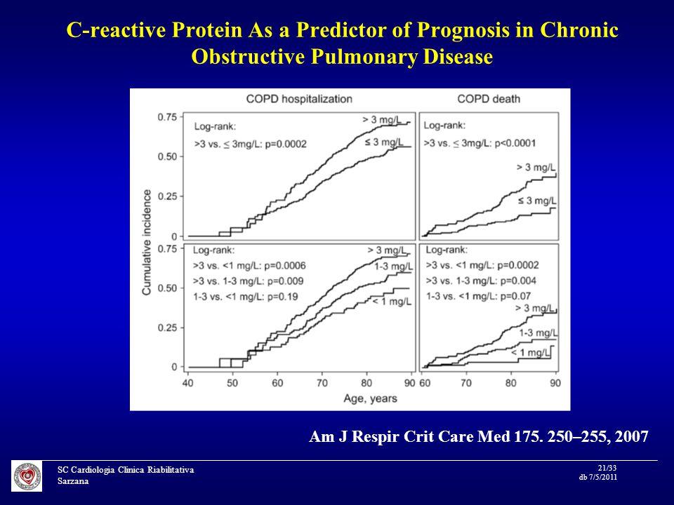 SC Cardiologia Clinica Riabilitativa Sarzana 21/33 db 7/5/2011 C-reactive Protein As a Predictor of Prognosis in Chronic Obstructive Pulmonary Disease Am J Respir Crit Care Med 175.