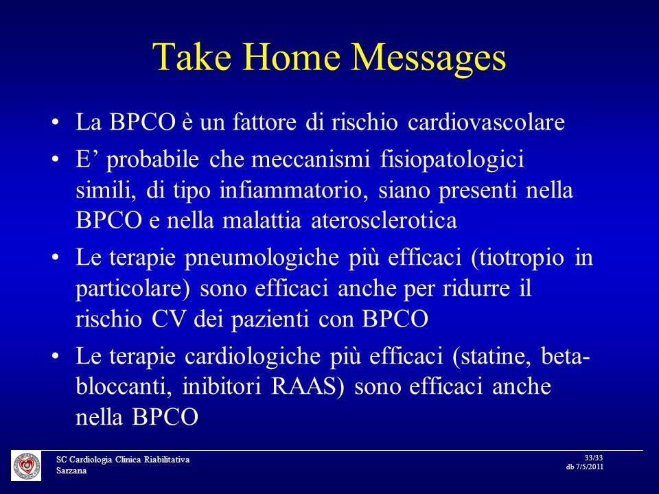 SC Cardiologia Clinica Riabilitativa Sarzana 33/33 db 7/5/2011 Take Home Messages La BPCO è un fattore di rischio cardiovascolare E' probabile che meccanismi fisiopatologici simili, di tipo infiammatorio, siano presenti nella BPCO e nella malattia aterosclerotica Le terapie pneumologiche più efficaci (tiotropio in particolare) sono efficaci anche per ridurre il rischio CV dei pazienti con BPCO Le terapie cardiologiche più efficaci (statine, beta- bloccanti, inibitori RAAS) sono efficaci anche nella BPCO