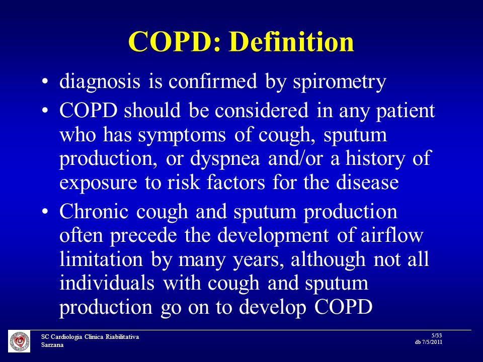 SC Cardiologia Clinica Riabilitativa Sarzana 26/33 db 7/5/2011 Long-term mortality according to COPD and statin use in patients with peripheral arterial disease van Gestel YR, Hoeks SE, Sin DD, et al.