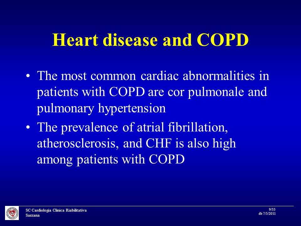 SC Cardiologia Clinica Riabilitativa Sarzana 10/33 db 7/5/2011 Atherosclerosis and COPD Although some of the association between COPD and atherosclerosis may be the result of common risk factors such as tobacco use, epidemiological evidence suggests that impaired lung function is a risk factor for increased cardiovascular death independent of tobacco use