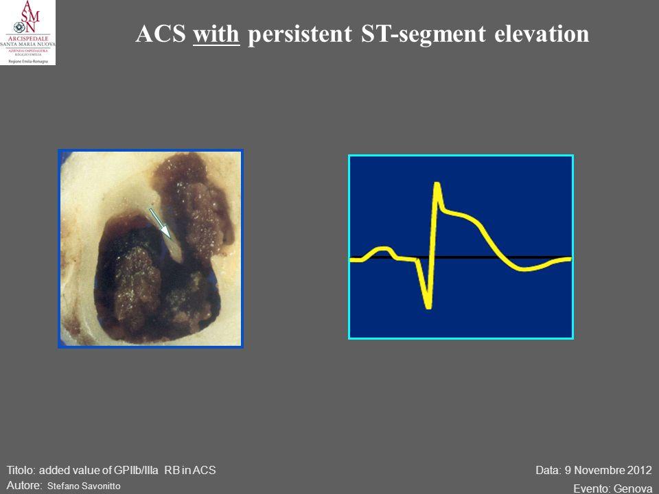 Data: 9 Novembre 2012 Evento: Genova Titolo: added value of GPIIb/IIIa RB in ACS Autore: Stefano Savonitto ACS with persistent ST-segment elevation