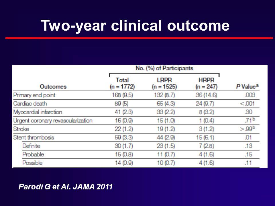 Two-year clinical outcome Parodi G et Al. JAMA 2011