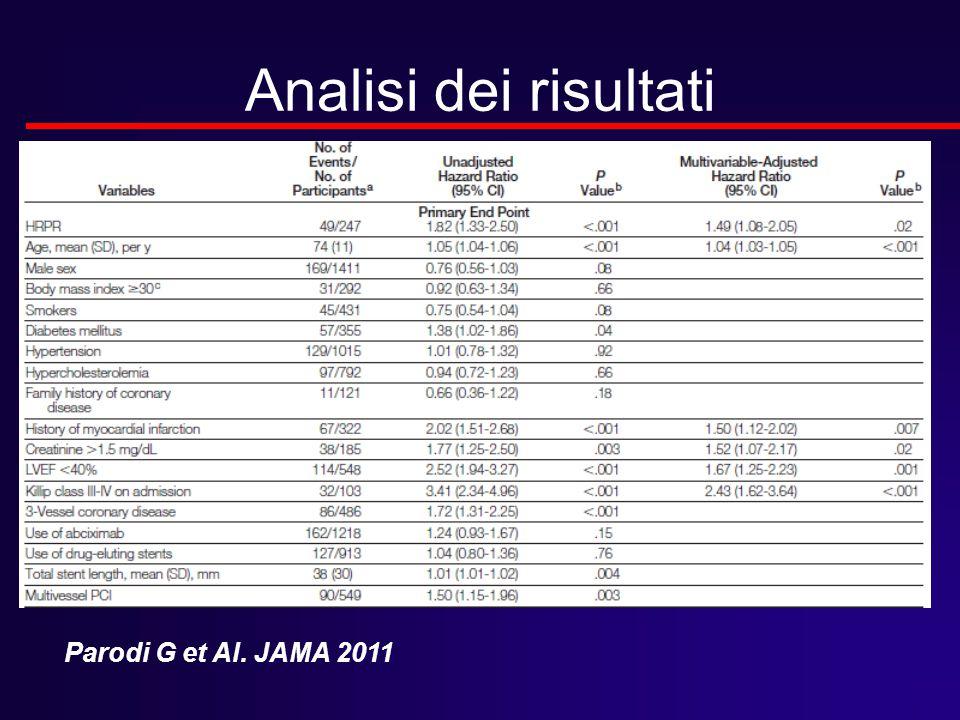 Analisi dei risultati Parodi G et Al. JAMA 2011