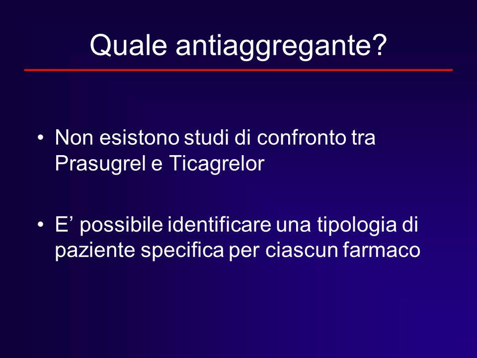 Quale antiaggregante? Non esistono studi di confronto tra Prasugrel e Ticagrelor E' possibile identificare una tipologia di paziente specifica per cia
