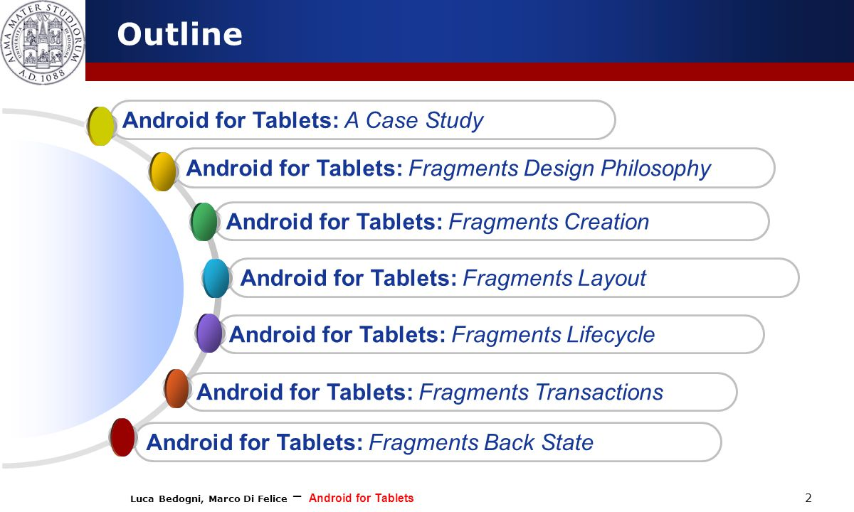 Luca Bedogni, Marco Di Felice – Android for Tablets 2 Outline Android for Tablets: Fragments Transactions Android for Tablets: Fragments Lifecycle Android for Tablets: Fragments Layout Android for Tablets: Fragments Creation Android for Tablets: Fragments Design Philosophy Android for Tablets: A Case Study Android for Tablets: Fragments Back State