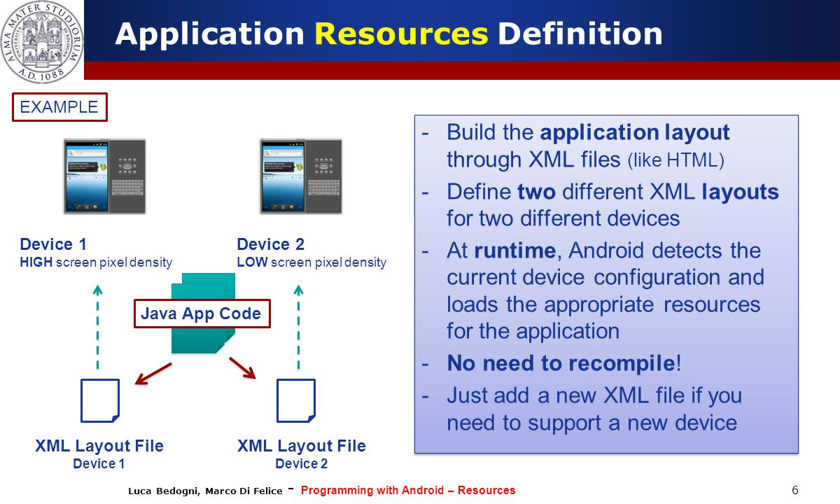 Luca Bedogni, Marco Di Felice - Programming with Android – Resources 37  Android applications might provide alternative resources to support specific device configurations (e.g.