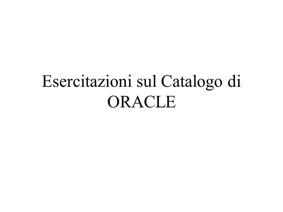 Esercitazioni sul Catalogo di ORACLE