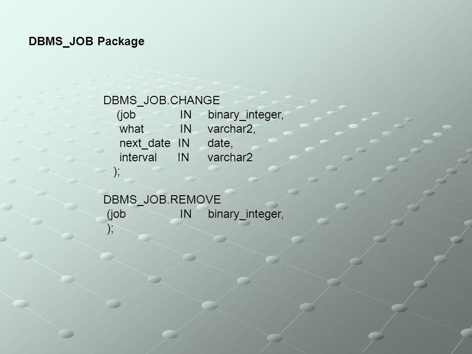 DBMS_JOB Package DBMS_JOB.CHANGE (job IN binary_integer, what IN varchar2, next_date IN date, interval IN varchar2 ); DBMS_JOB.REMOVE (job IN binary_i