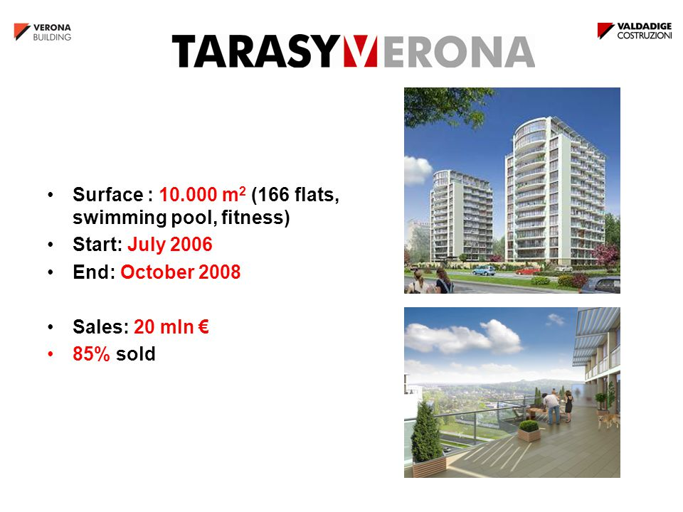 Surface : 10.000 m 2 (166 flats, swimming pool, fitness) Start: July 2006 End: October 2008 Sales: 20 mln € 85% sold