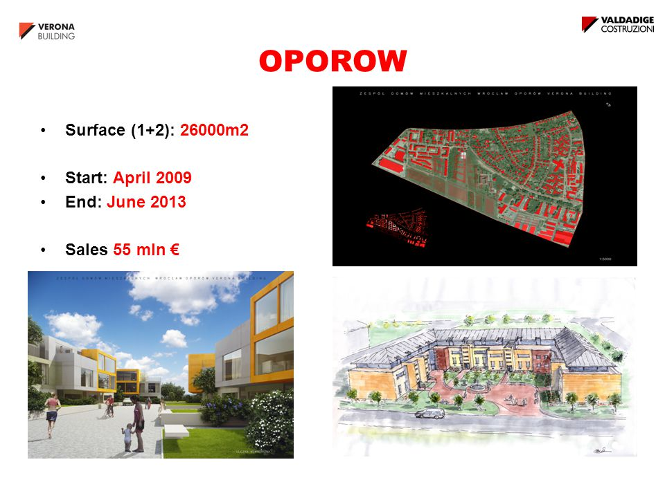 OPOROW Surface (1+2): 26000m2 Start: April 2009 End: June 2013 Sales 55 mln €