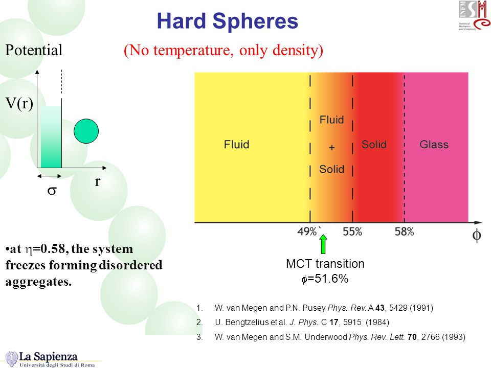 HS Hard Spheres at  =0.58, the system freezes forming disordered aggregates.