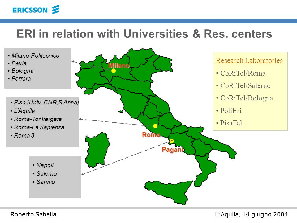 L ' Aquila, 14 giugno 2004Roberto Sabella ERI in relation with Universities & Res.
