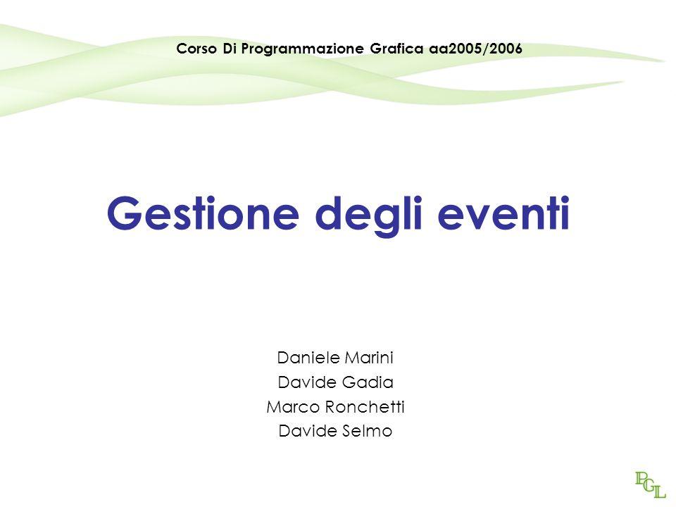 Gestione degli eventi Daniele Marini Davide Gadia Marco Ronchetti Davide Selmo Corso Di Programmazione Grafica aa2005/2006