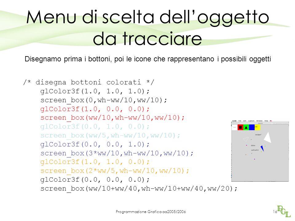 Programmazione Grafica aa2005/200616 /* disegna bottoni colorati */ glColor3f(1.0, 1.0, 1.0); screen_box(0,wh-ww/10,ww/10); glColor3f(1.0, 0.0, 0.0);