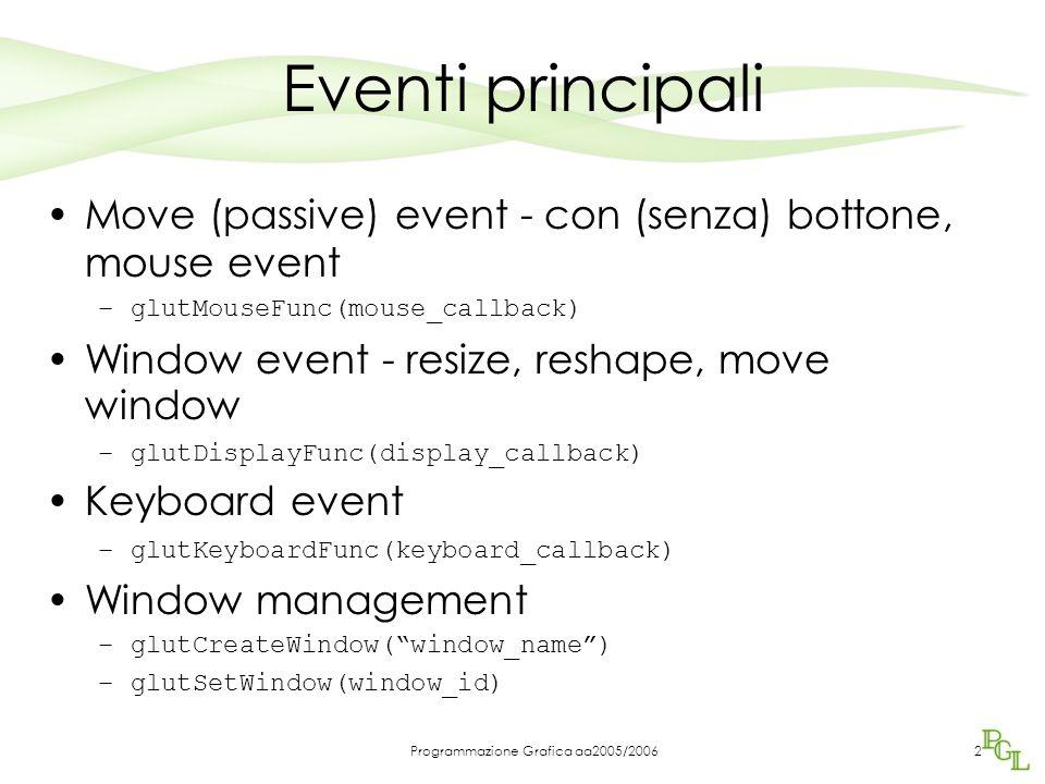 Programmazione Grafica aa2005/20062 Eventi principali Move (passive) event - con (senza) bottone, mouse event –glutMouseFunc(mouse_callback) Window ev