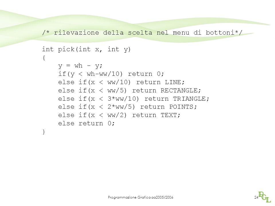 Programmazione Grafica aa2005/200624 /* rilevazione della scelta nel menu di bottoni*/ int pick(int x, int y) { y = wh - y; if(y < wh-ww/10) return 0;