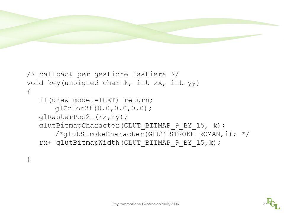 Programmazione Grafica aa2005/200629 /* callback per gestione tastiera */ void key(unsigned char k, int xx, int yy) { if(draw_mode!=TEXT) return; glCo