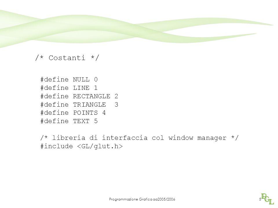 Programmazione Grafica aa2005/200616 /* disegna bottoni colorati */ glColor3f(1.0, 1.0, 1.0); screen_box(0,wh-ww/10,ww/10); glColor3f(1.0, 0.0, 0.0); screen_box(ww/10,wh-ww/10,ww/10); glColor3f(0.0, 1.0, 0.0); screen_box(ww/5,wh-ww/10,ww/10); glColor3f(0.0, 0.0, 1.0); screen_box(3*ww/10,wh-ww/10,ww/10); glColor3f(1.0, 1.0, 0.0); screen_box(2*ww/5,wh-ww/10,ww/10); glColor3f(0.0, 0.0, 0.0); screen_box(ww/10+ww/40,wh-ww/10+ww/40,ww/20); Menu di scelta dell'oggetto da tracciare Disegnamo prima i bottoni, poi le icone che rappresentano i possibili oggetti