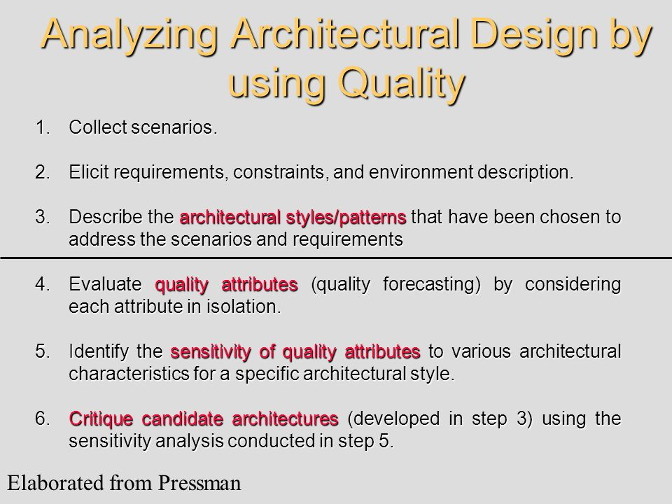 Analyzing Architectural Design by using Quality 1.Collect scenarios. 2.Elicit requirements, constraints, and environment description. 3.Describe the a
