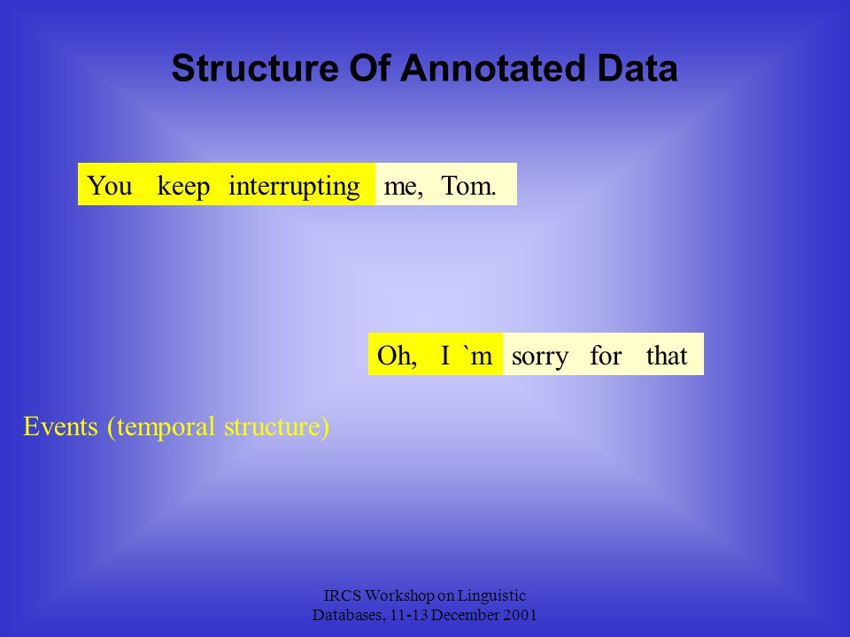 IRCS Workshop on Linguistic Databases, 11-13 December 2001 Structure Of Annotated Data Youkeepinterruptingme,Tom.